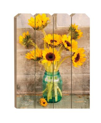 Country Sunflowers by Anthony Smith, Printed Wall Art on a Large Wood Picket Fence, 16