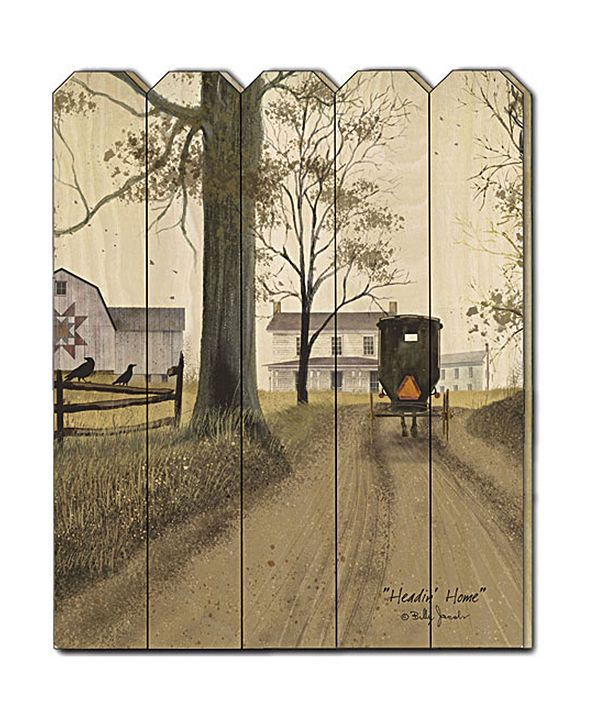 """Trendy Decor 4U Headin Home by Billy Jacobs, Printed Wall Art on a Wood Picket Fence, 16"""" x 20"""""""