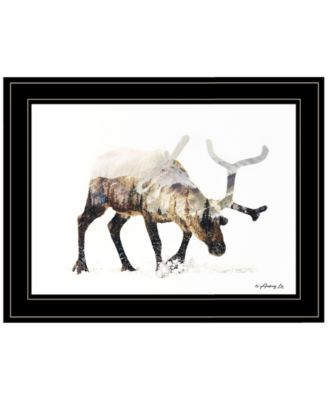 Arctic Reindeer by andreas Lie, Ready to hang Framed Print, Black Frame, 19
