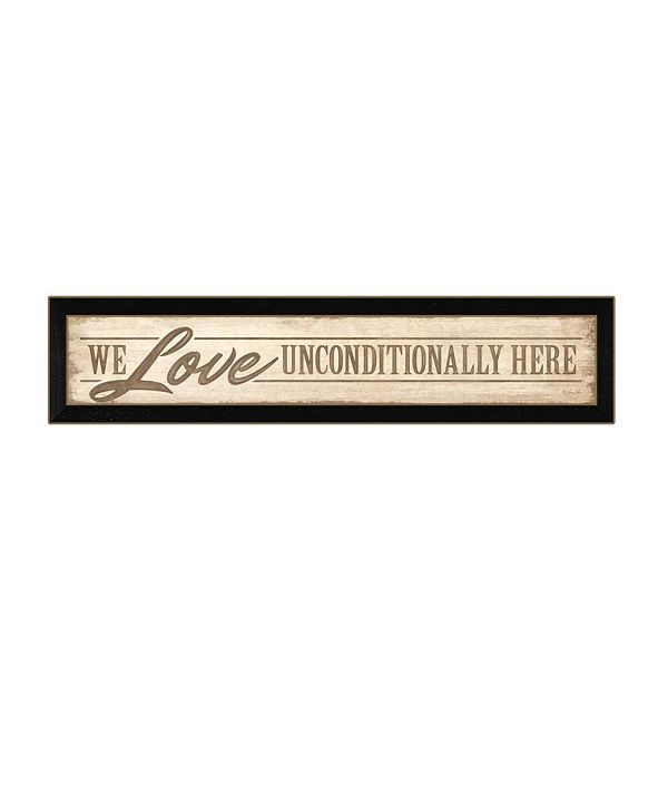 """Trendy Decor 4U Love Unconditionally By Lauren Rader, Printed Wall Art, Ready to hang, Black Frame, 38"""" x 8"""""""