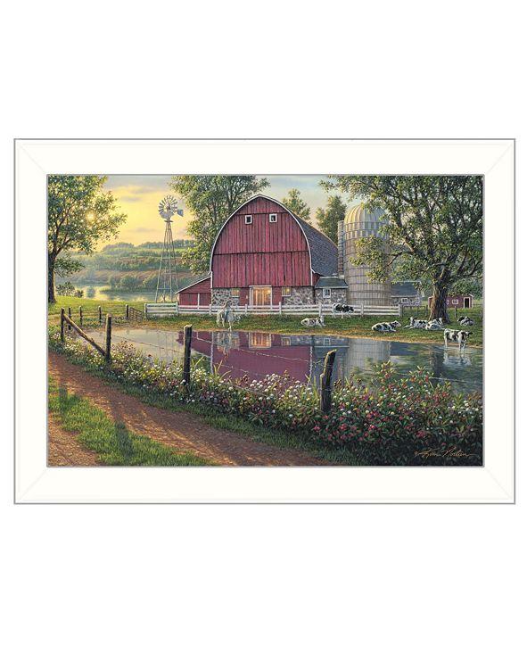 "Trendy Decor 4U Barnyard Memories by Kim Norlien, Ready to hang Framed Print, White Frame, 20"" x 14"""
