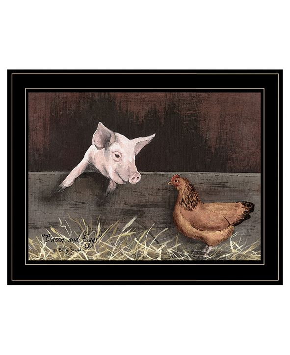 "Trendy Decor 4U Bacon Eggs by Billy Jacobs, Ready to hang Framed Print, Black Frame, 19"" x 15"""