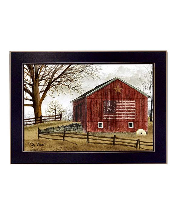 "Trendy Decor 4U Flag Barn By Billy Jacobs, Printed Wall Art, Ready to hang, Black Frame, 14"" x 10"""