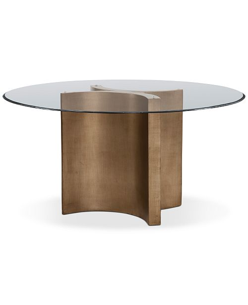 Furniture Symmetry 54 Glass Top Round Dining Table Reviews Furniture Macy S