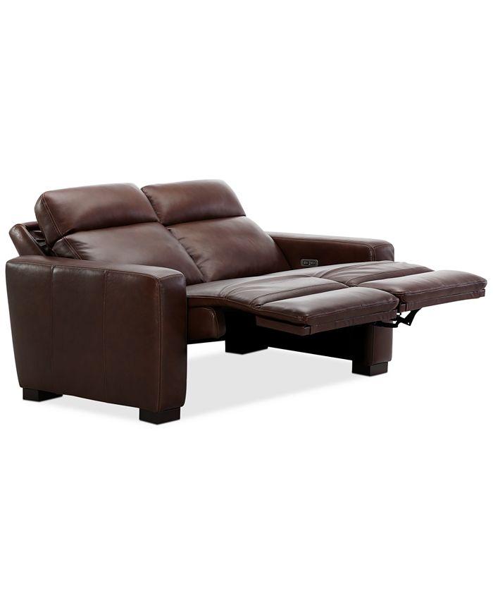 "Furniture - Hayvon 61"" Leather Dual Power Loveseat"