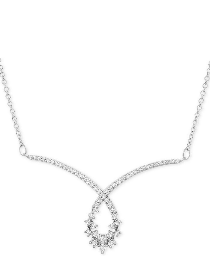 "Macy's - Diamond Swirl Scatter Loop 15-1/2"" Statement Necklace (1/2 ct. t.w.) in 10k White Gold"