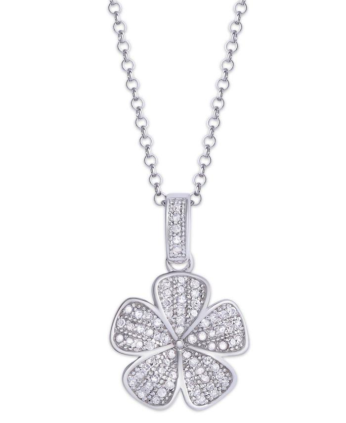 Macy's - Diamond 1/4 ct. t.w. Flower Pendant Necklace in Sterling Silver