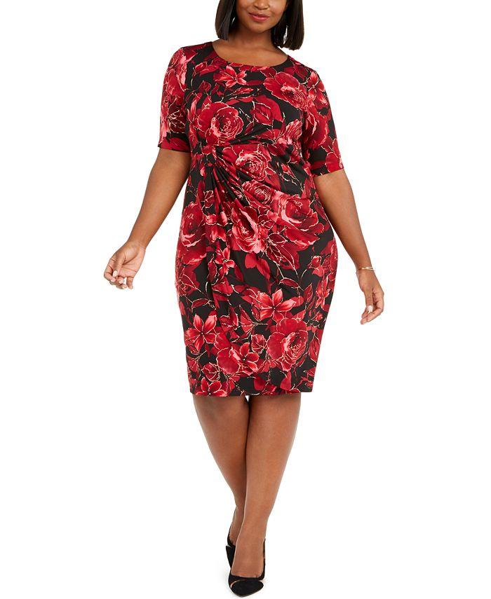 Connected - Plus Size Metallic Floral-Print Sarong Dress