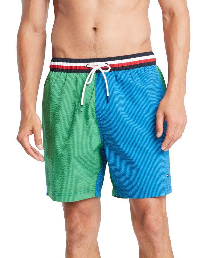 """Tommy Hilfiger - Men's Colorblocked Seersucker Stripe 6-1/2"""" Swim Trunks"""