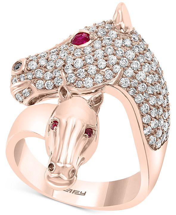 EFFY Collection EFFY® Diamond (1-1/6 ct. t.w.) & Certified Ruby (1/10 ct. t.w.) Horse Ring in 14k Rose Gold
