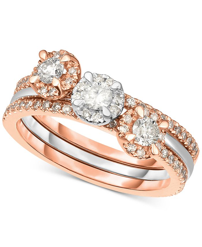 Macy's - 3-Pc. Set Diamond Stack Rings (3/4 ct. t.w.) in 14k White Gold & Rose Gold