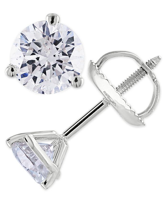 Macy's - Certified 1-1/2 ct. t.w. Diamond Stud Earrings in 14k White or Yellow Gold
