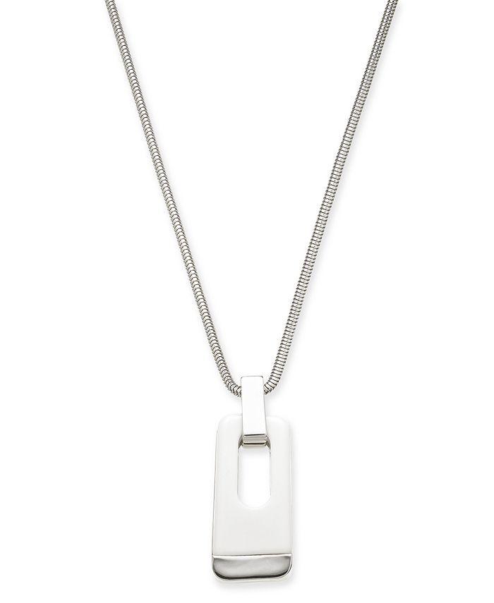 """Alfani - Silver-Tone & White Acrylic Large Link 34"""" Pendant Necklace"""