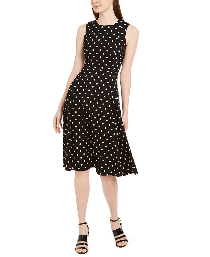 Calvin Klein - Polka-Dot Fit & Flare Dress