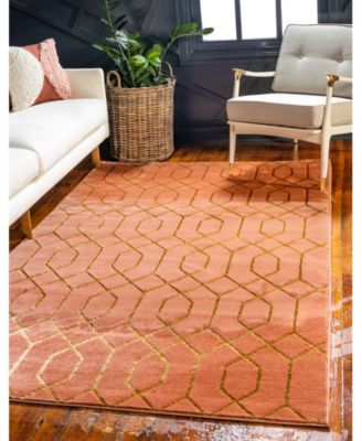 Glam Mmg001 Coral/Gold 4' x 6' Area Rug