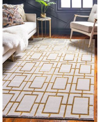 Glam Mmg002 White/Gold 2' x 6' Runner Rug