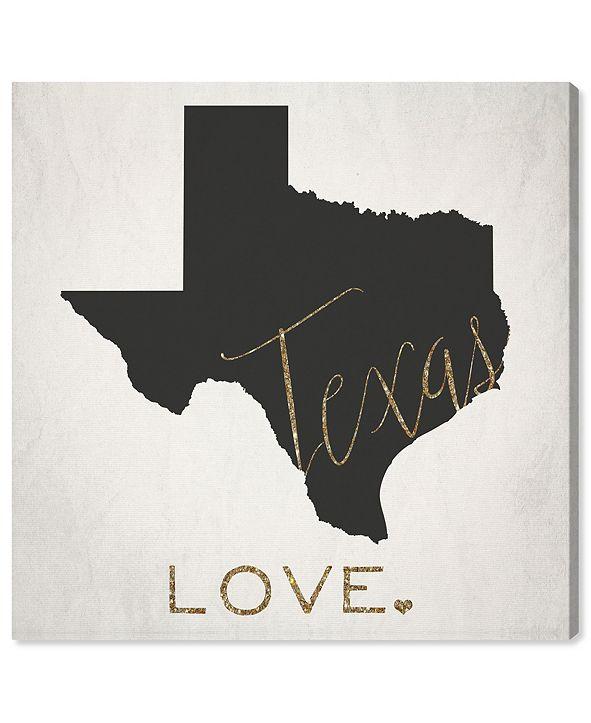 "Oliver Gal Texas Love Canvas Art, 16"" x 16"""