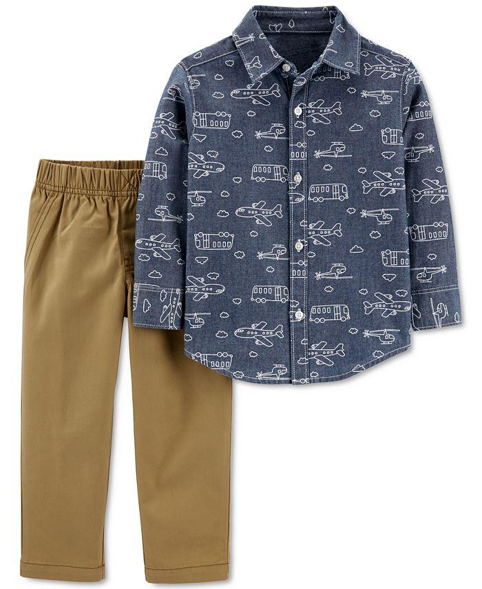 Carter's - Baby Boys 2-Pc. Cotton Plane-Print Chambray Shirt & Pants Set