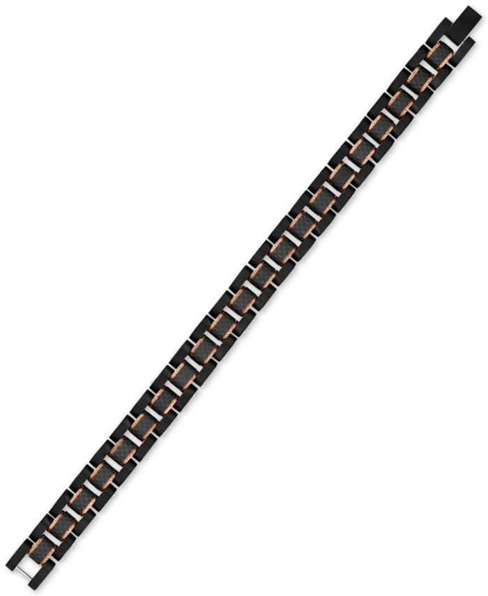 Esquire Men's Jewelry Watch Link Bracelet in Stainless Steel, Black Carbon Fiber & Rose Ion-Plate, Created for Macy's & Reviews - Bracelets - Jewelry & Watches - Macy's