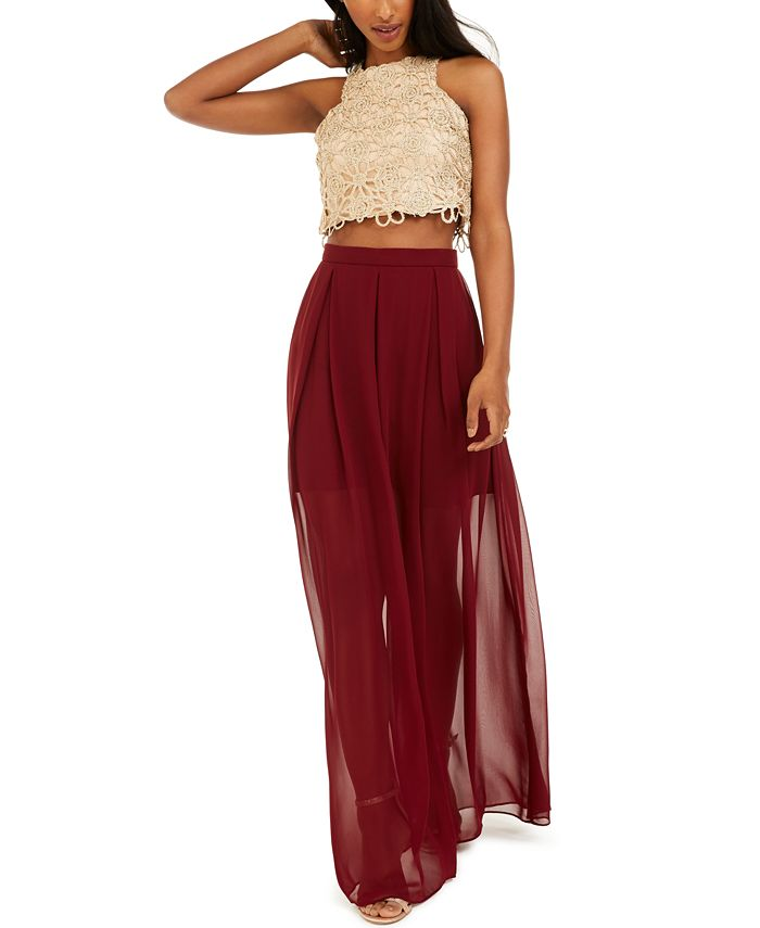 B Darlin - Juniors' Halter Top & Chiffon Skirt
