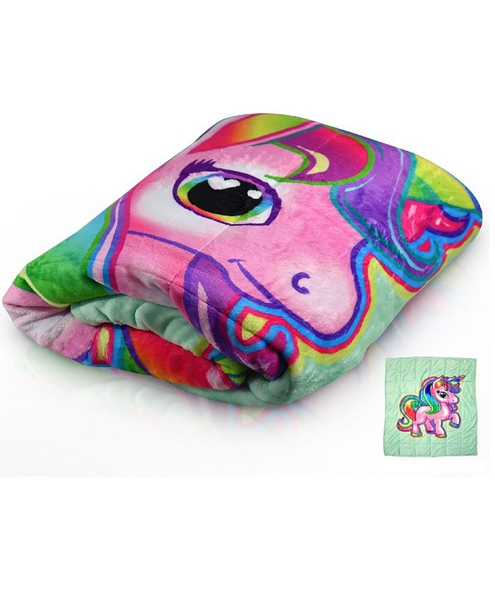 Bell + Howell - 7 Lb. Quilted Plush Pleasure Pedic Unicorn Design Weighted Blanket