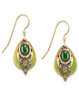 silver forest gold tone jade filigree drop earrings