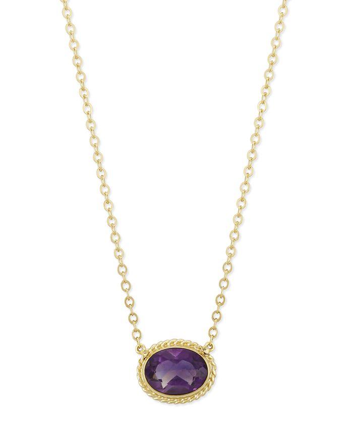 Macy's - Amethyst Twist Gallery Necklace in 14k Yellow Gold