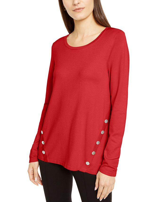 Alfani - Petite Hardware Seamed Pullover Sweater