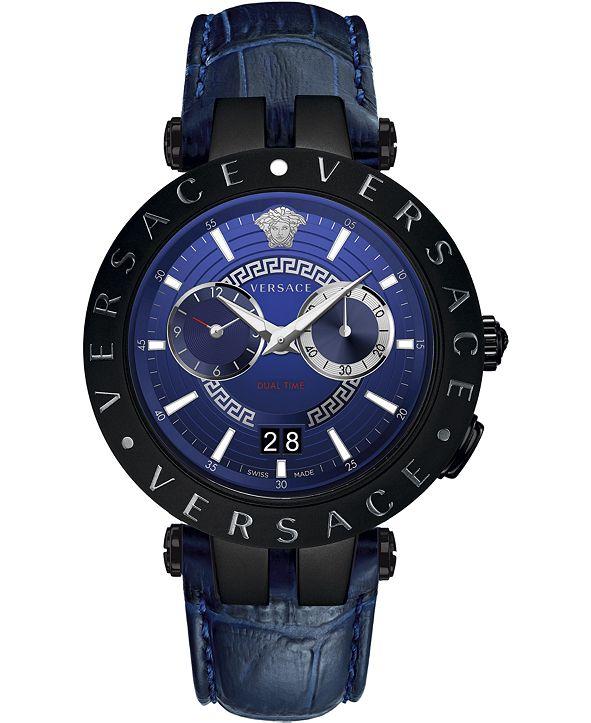 Versace Men's Swiss V-Race Blue Leather Strap Watch 46mm