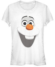 Fifth Sun Disney Women's Frozen Olaf Big Face Short Sleeve Tee Shirt