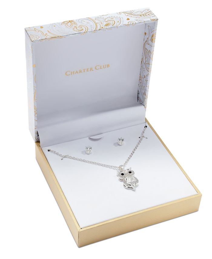 Charter Club Silver-Tone 2-Pc. Set Crystal Owl Pendant Necklace & Solitaire Stud Earrings, Created for Macy's & Reviews - Fashion Jewelry - Jewelry & Watches - Macy's