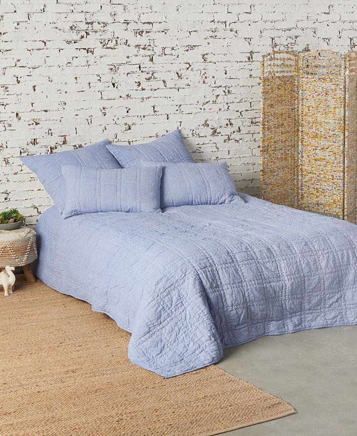 "carol & frank - Indigo Swirl Embroidered Pillow, 18"" x 18"", Indigo"