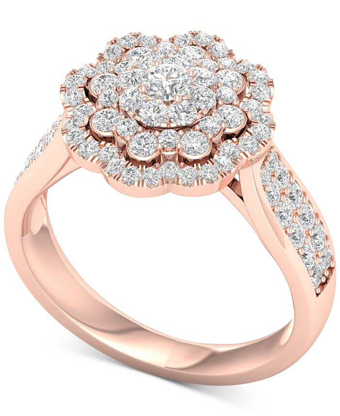 Macy's - Diamond Flower Halo Cluster Statement Ring (1 ct. t.w.) in 14k Rose Gold