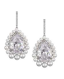 Nina Pearl Halo Pear Cut Earrings
