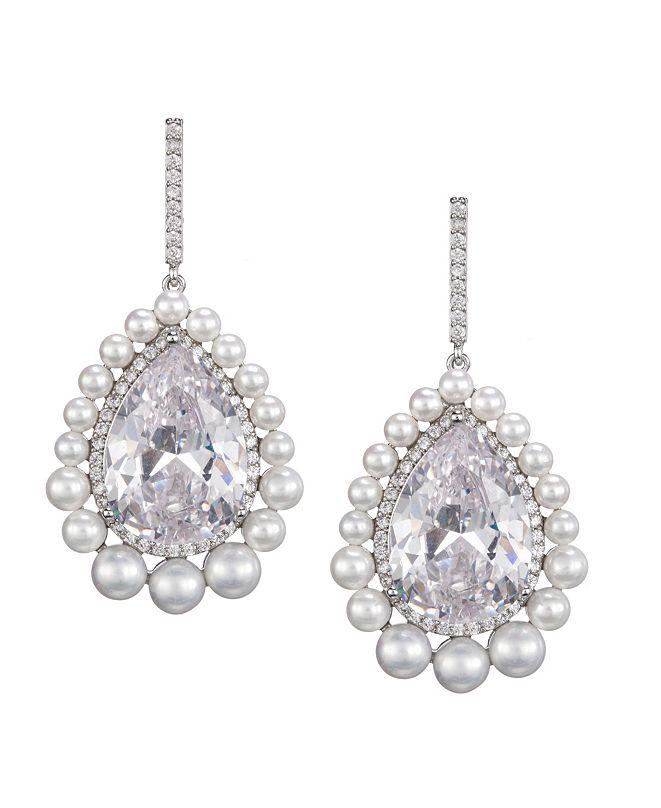 Nina Pearl Halo Pear Cut Earrings