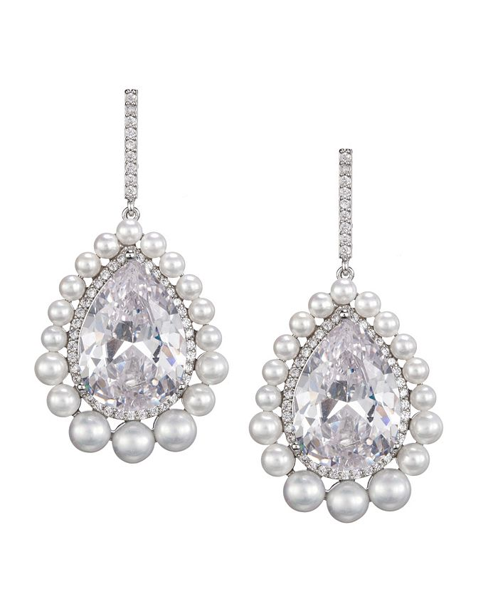 Nina - Pearl Haloed Pear Cut Earrings