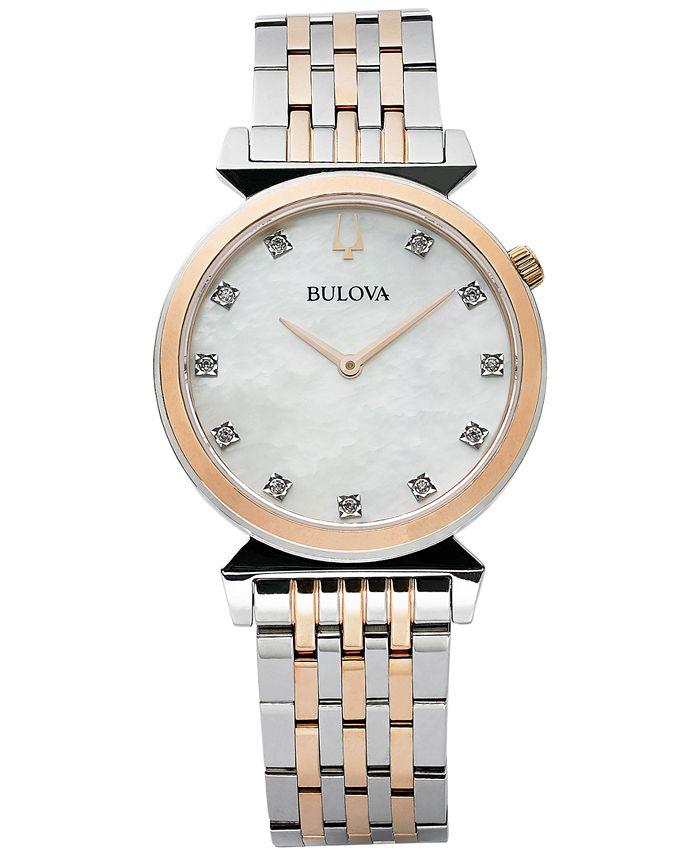 Bulova - Women's Regatta Diamond-Accent Two-Tone Stainless Steel Bracelet Watch 30mm