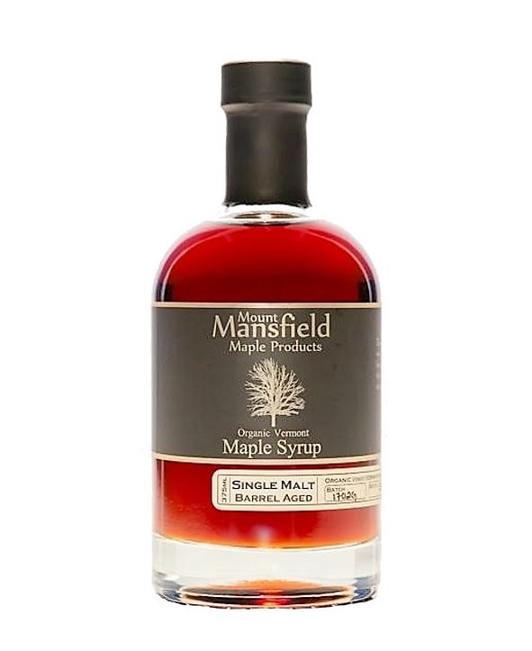 Mount Mansfield Maple Products Single Malt Whiskey Barrel Aged Organic Vermont Maple Syrup, 375 ml