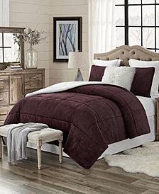 Plush Faux Fur and Sherpa Reversible King/Cal King Comforter Set