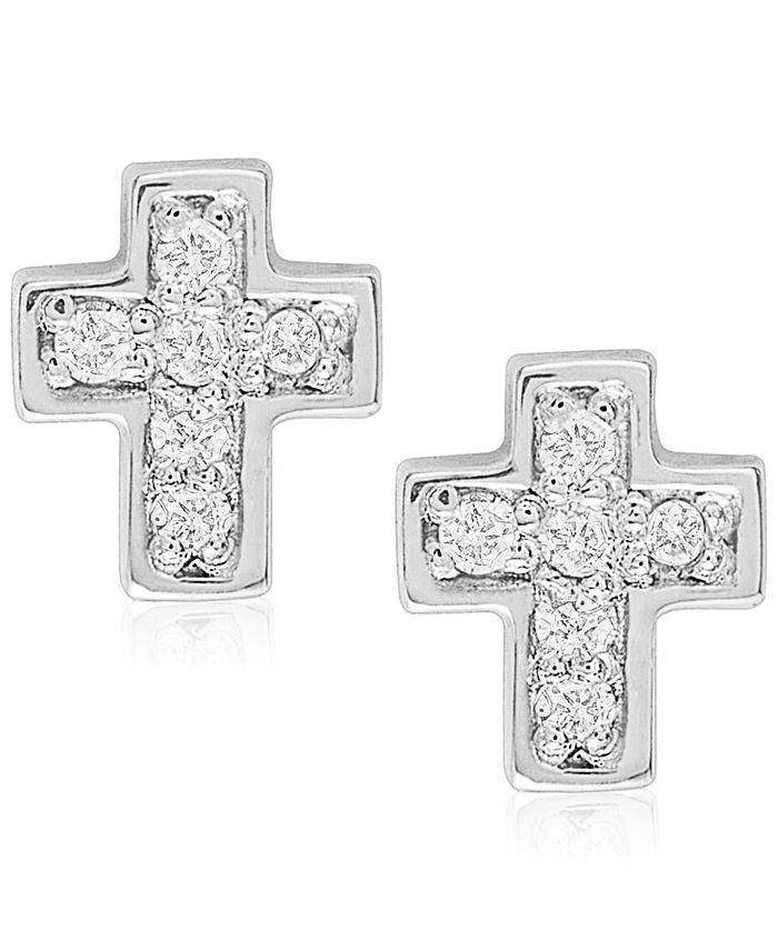 Rhona Sutton - Children's Diamond Accent Cross Stud Earrings in Sterling Silver