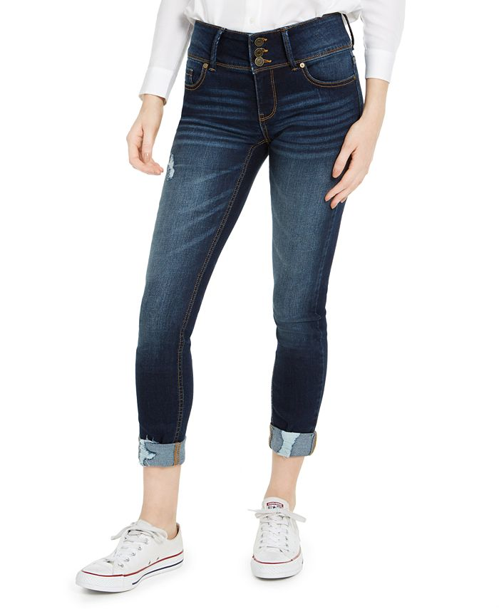 Indigo Rein - Juniors' High-Waisted Triple-Button Cuffed Skinny Jeans
