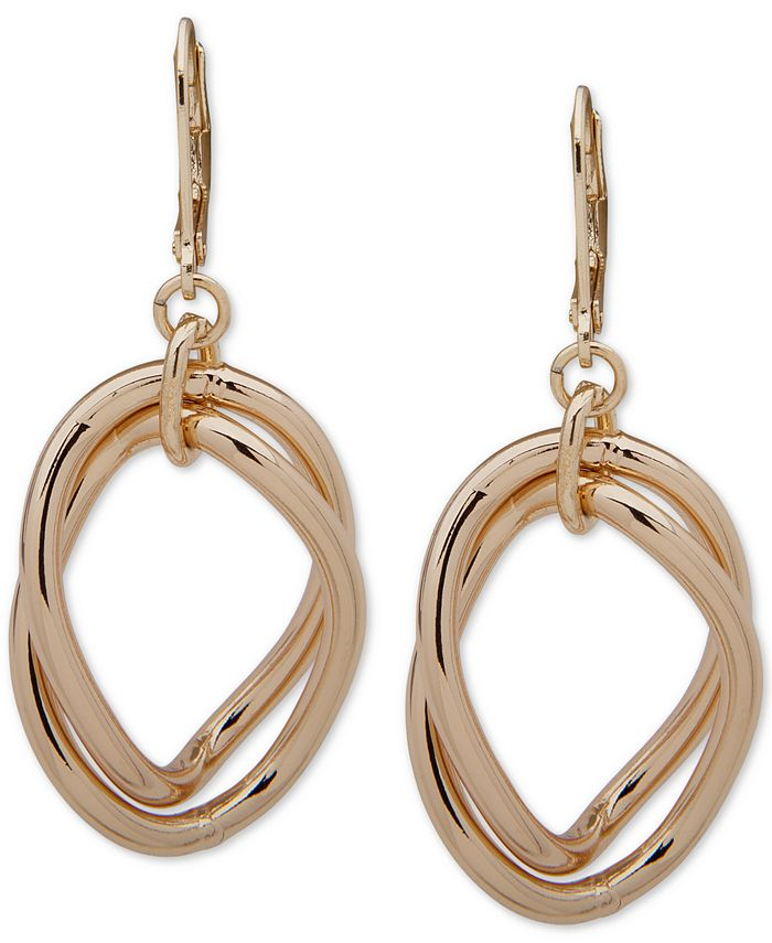 Anne Klein - Gold-Tone Double Link Orbital Drop Earrings