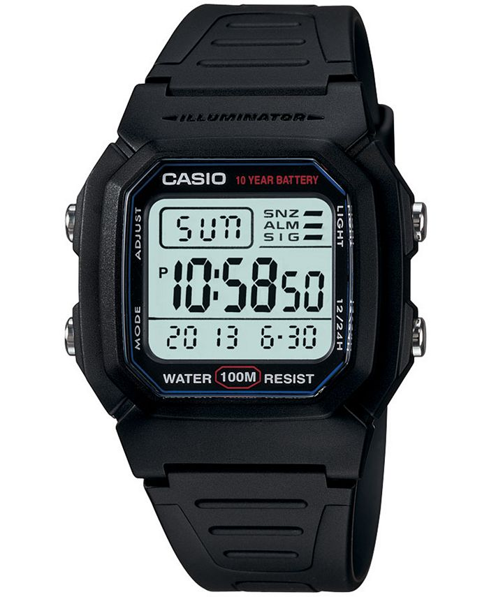 Casio - Men's Digital Black Resin Strap Watch 37mm