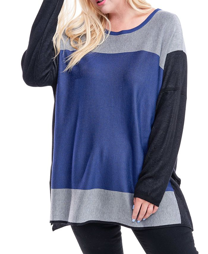 Fever - Plus Size Colorblocked Sweater