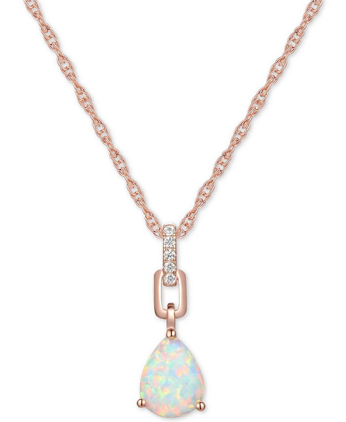 "Macy's - Opal (5/8 ct. t.w.) & Diamond (1/20 ct. t.w.) 18"" Pendant Necklace in 14k Rose Gold"
