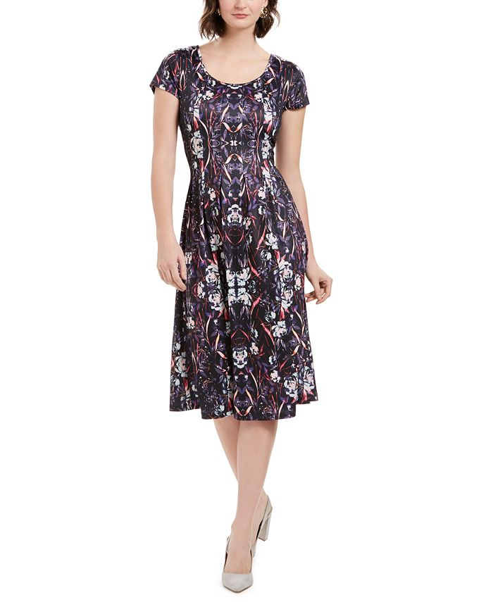 NY Collection - Petite Printed Fit & Flare Dress