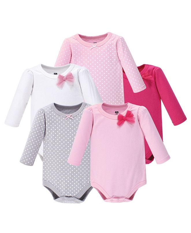 Hudson Baby Baby Girl Long Sleeve Bodysuit, 5-Pack
