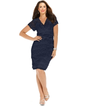 Buy macys & suits - Marina Plus Size Dress, Cap Sleeve Lace Cocktail Dress