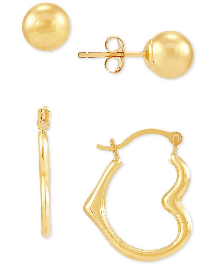 Macy's - 2-Pc. Set Ball Stud Earrings & Heart Hoop Earrings in 10k Gold