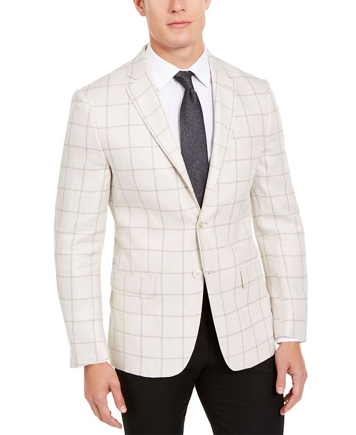 Lauren Ralph Lauren - Men's Classic-Fit UltraFlex Stretch Beige Windowpane Sport Coat